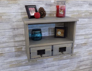 Wall Shelf with Two Matching Crate Drawers - Shelf
