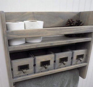 Rustic Bathroom Shelf with Towel Bar