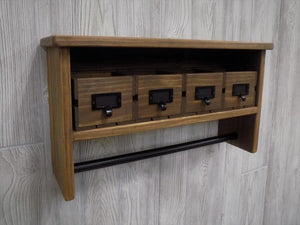 Bathroom Shelf with Towel Bar, Black Hardware and Four Crate Drawers - Shelf