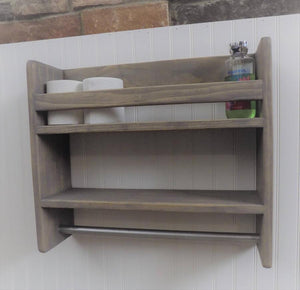 Bathroom Shelf with Towel Bar, Rustic Shelf, Towel Rack - Shelf