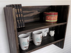 Kitchen Shelf with Hooks, Coffee Cups, Cookbooks, Book Shelf - Shelf