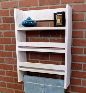Large Three Tier Bathroom Shelf with Towel Bar