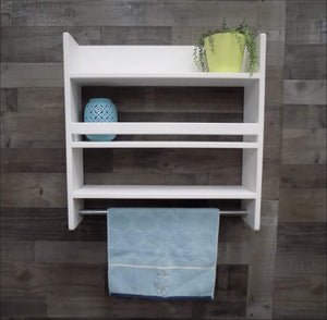 Large Bathroom Shelf with Towel Bar, Lots of Storage Space - Shelf