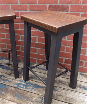 Rustic Industrial Stool, Side Table - Stool