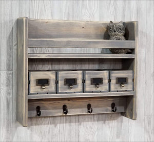 Rustic Shelf with Hooks and Matching Crate Drawers - Shelf