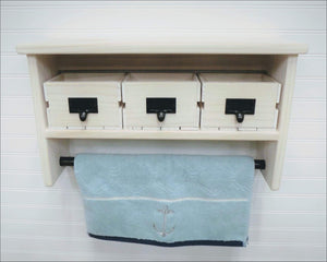 White Wash Bathroom Shelf with Towel Bar and Crate Drawers - Shelf