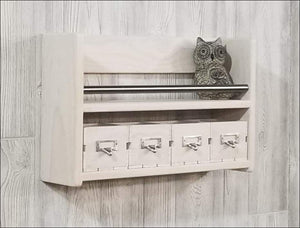 White Wash Shelf with Matching Crate Drawers - Shelf