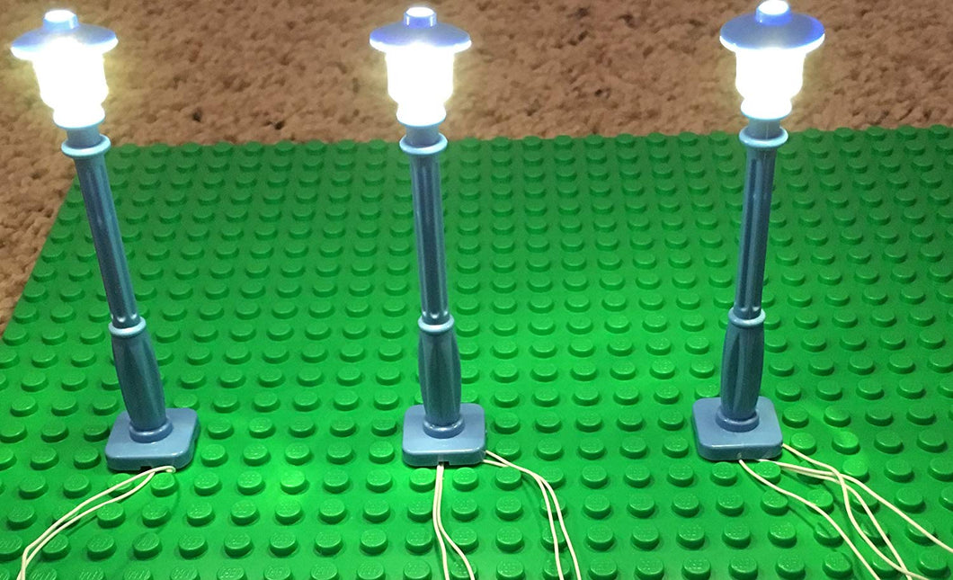 Blue Lamp Post led Street Light for Lego USB Connected 3 Posts