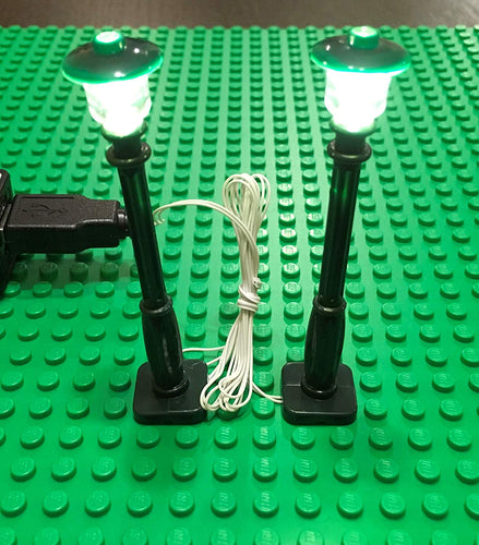 Green Lamp Post led street light for lego usb connected 2 posts