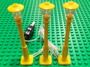 New 3 yellow Lamp Post led street light for lego usb connected 3 posts