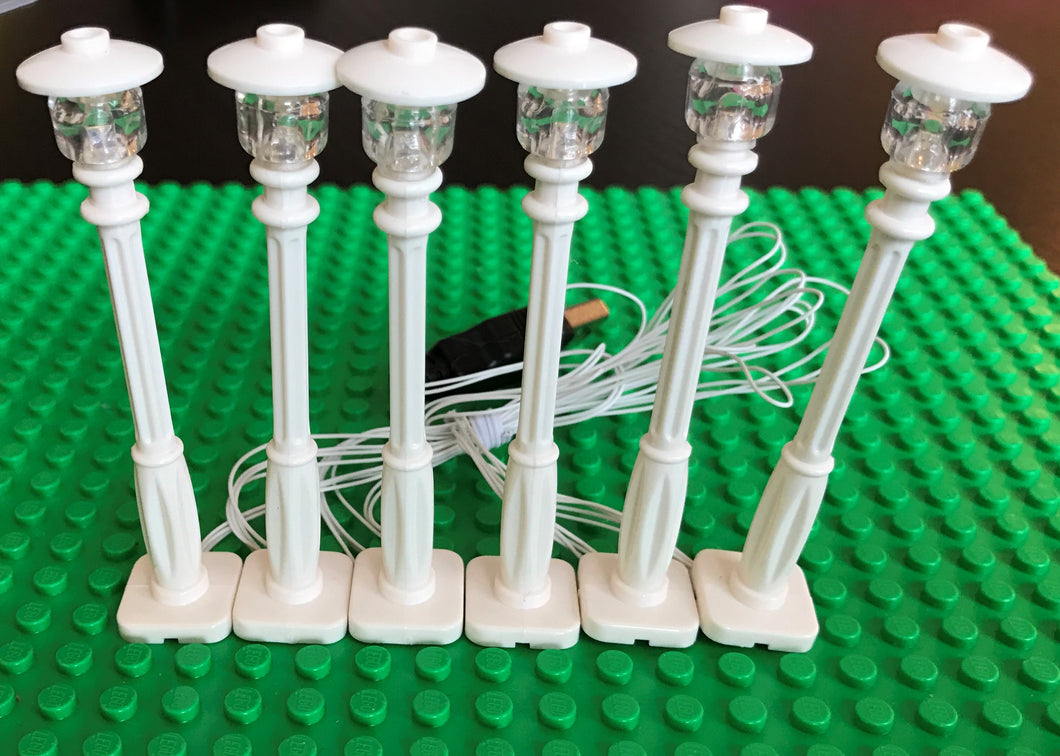 6 White Lamp Post led street light for lego usb connected