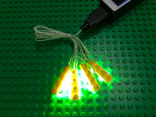 New 4 1x4 yellow led light brick for lego usb connected for lego custom
