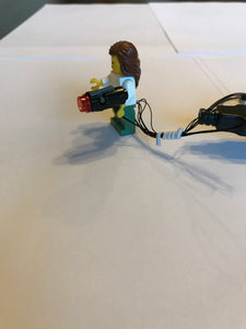 2 red blinking Weapon Gun Mini Blaster led for lego Minifig Shooter USB powered