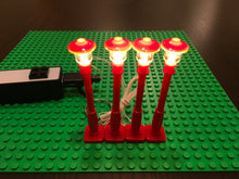 4 Red Christmas Village Lamp Post LED street light for lego usb with power bank
