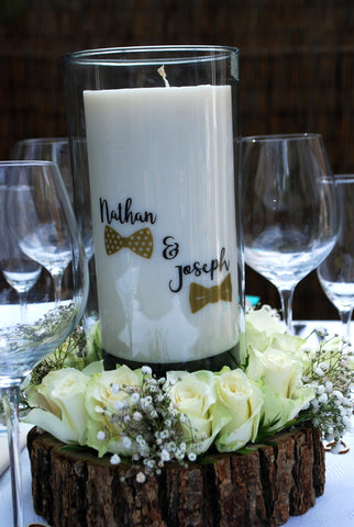 Clara and Co Candles wedding decoration centerpieces Mr and Mr / Groom and Groom