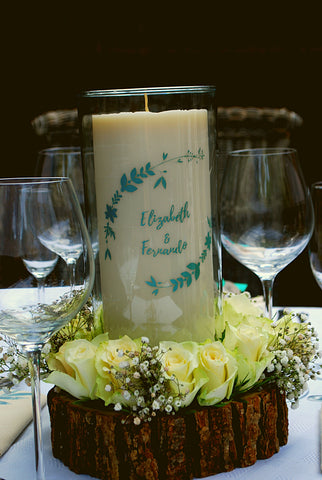 Clara and Co Wedding Table Decoration Names Candles