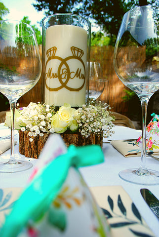 Clara and Co Candles wedding decoration centerpieces Mrs and Mrs / Bride and Bride