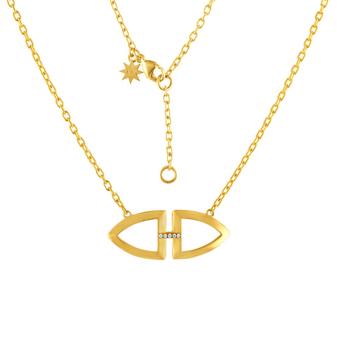 Gold Shield Necklace - Arch Gold Shield