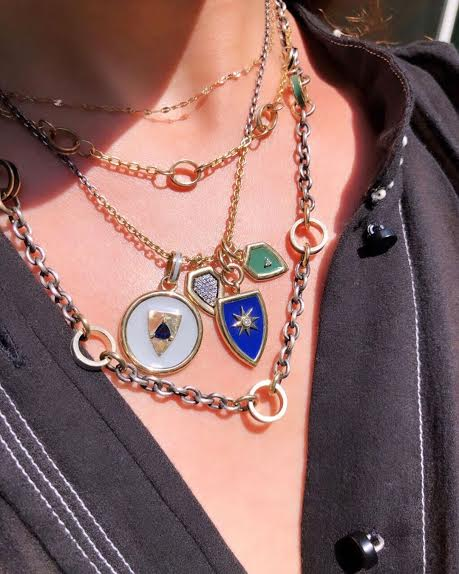 Royal Shield Pendant: 14k Gold, Sapphire Trillion, Enamel