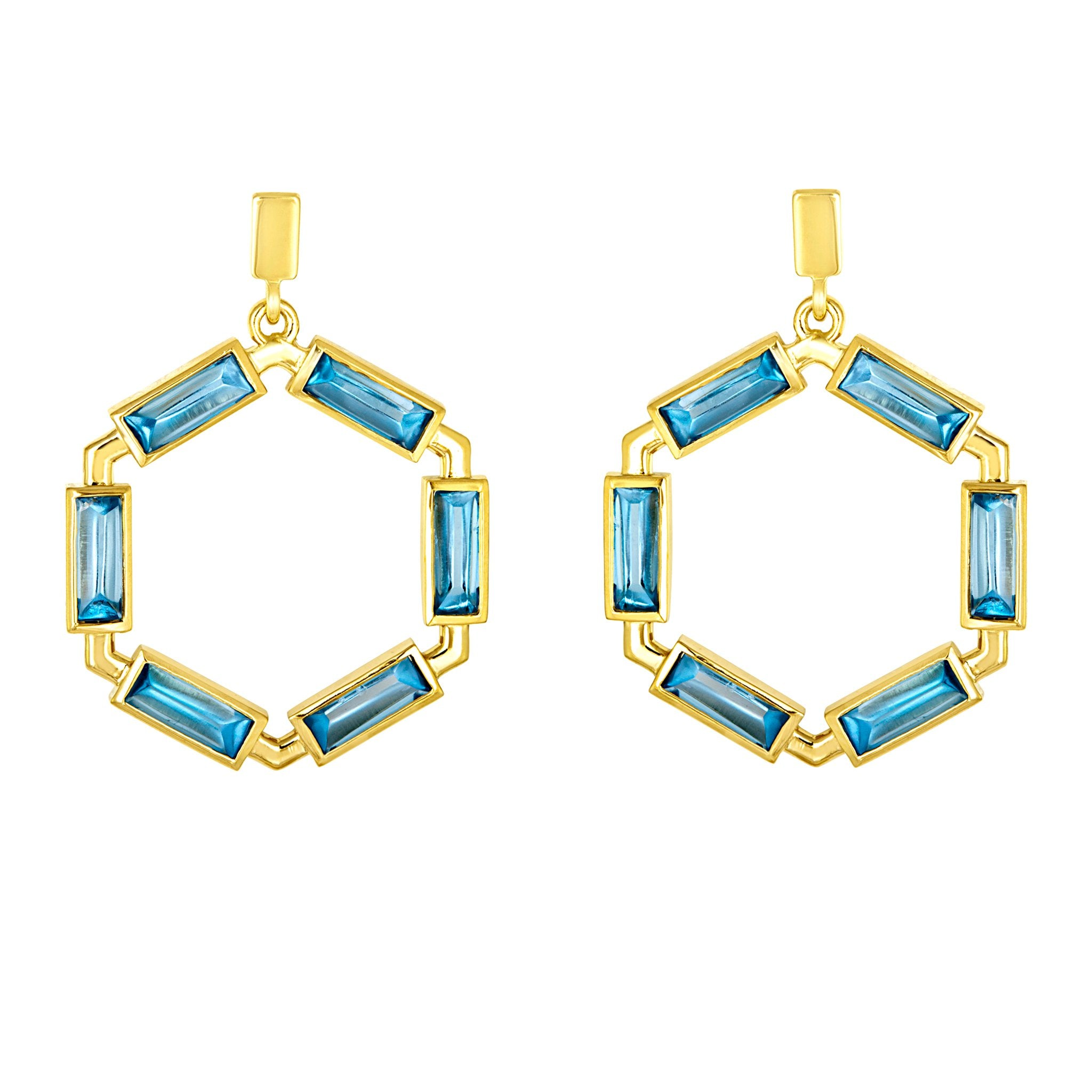 Block Hoop Earrings: 18k Gold, Blue Topaz Baguettes