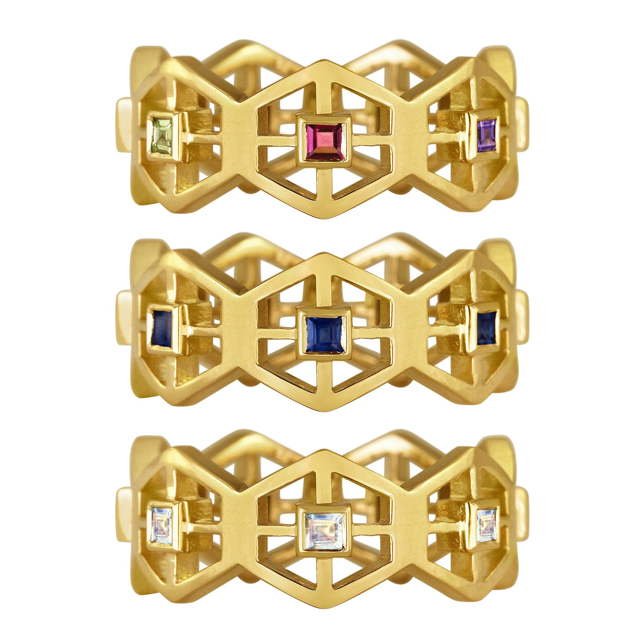 Grid Band Ring: 18k Gold, Square Blue Sapphires