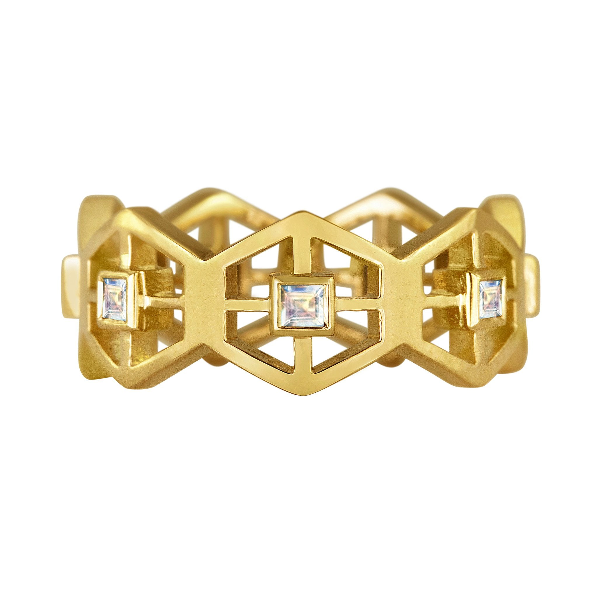 Grid Band Ring: 18k Gold, Square Rainbow Moonstones