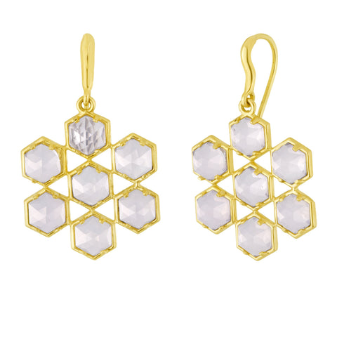 Grid Earrings: 18k Gold, Rose Cut Lavender Moonstone