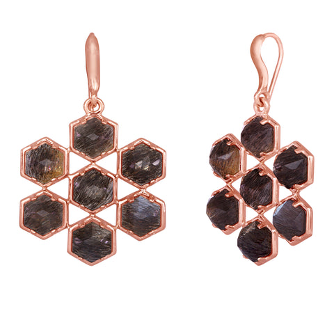 Grid Earrings: 18k Rose Gold, Rose Cut Hexagon Golden Black Moonstones