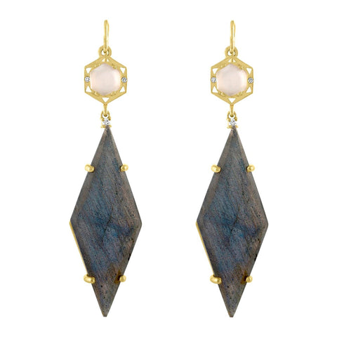 Stretto Geo Earrings: 14k Gold, Catseye Moonstone, Cabachon, Labradorite, Diamonds
