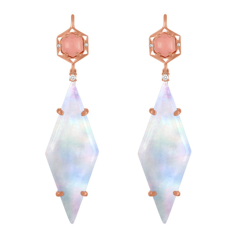 Stretto Geo Earrings: 14k Rose Gold, Guava Quartz, Cabachon, Rainbow Moonstone, Diamonds