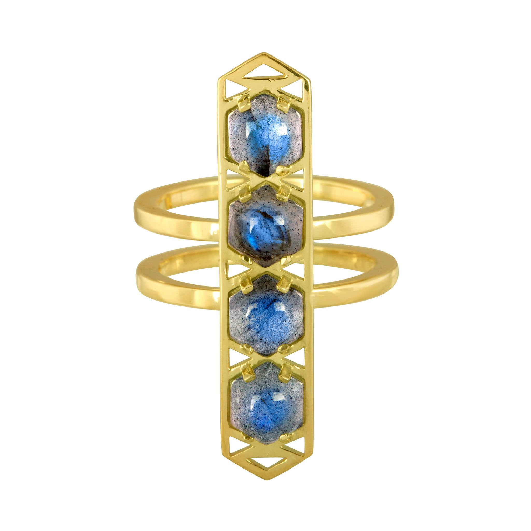 Stretto Ring: 18k Gold, Hexagon Cabachon Labradorite