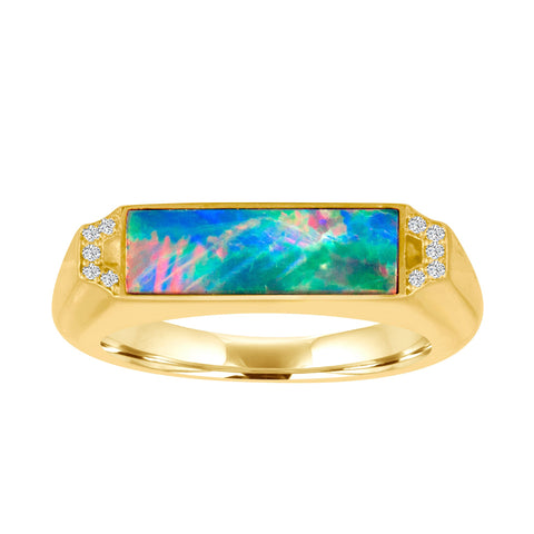 Edge Signet Ring: 18k Gold, Opal, Diamonds
