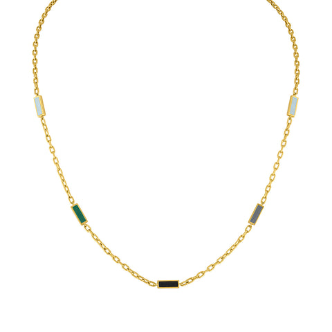 Enamel Double Baquette Necklace: 14k Gold, Enamel (necklace only, shown with pendant)