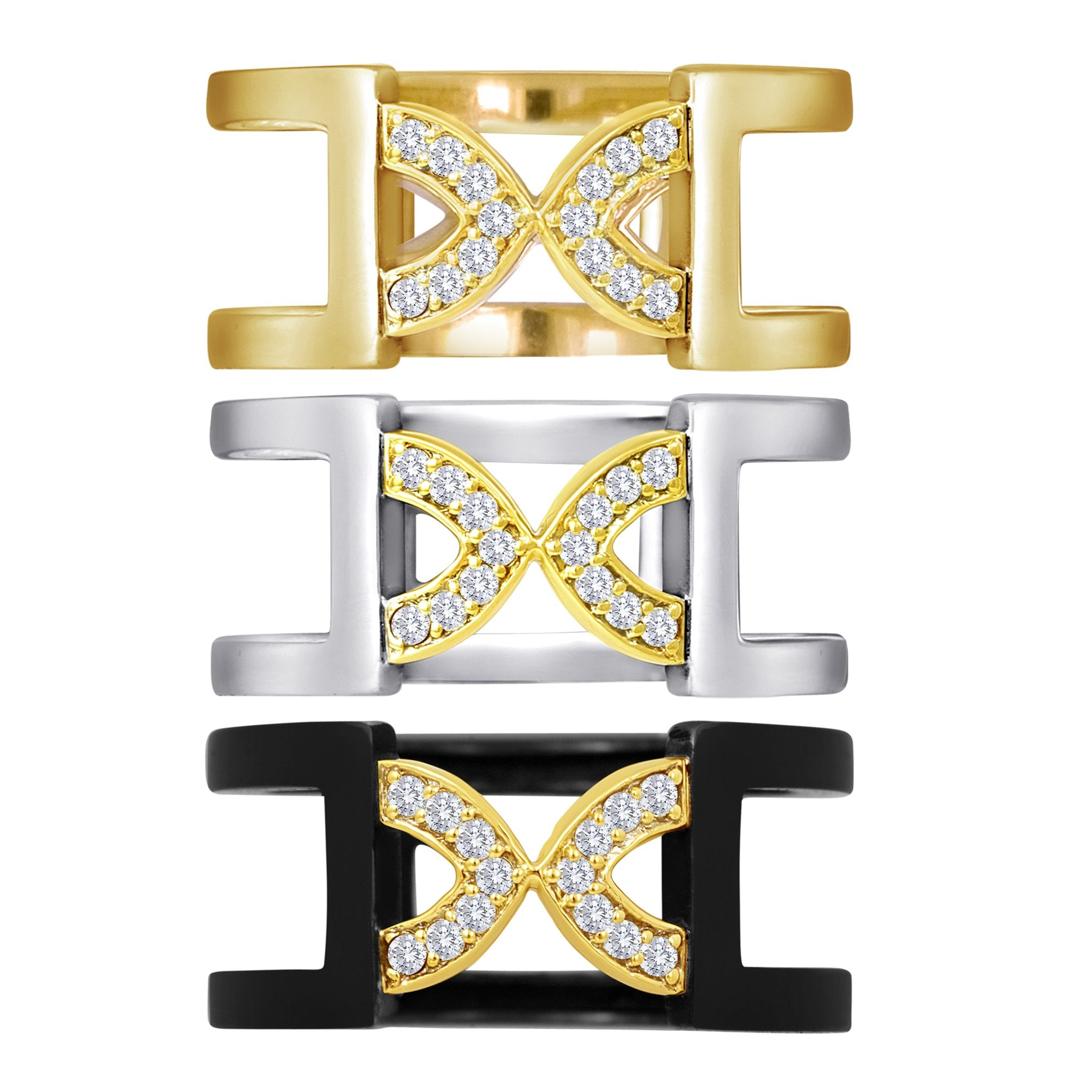 Arch Band Ring: 18k Gold, Silver, Diamonds