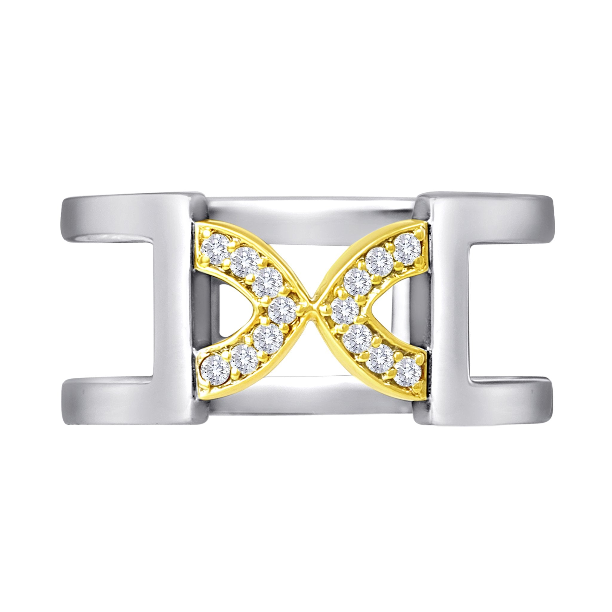 Band Ring: 18k Gold, Silver, Diamonds