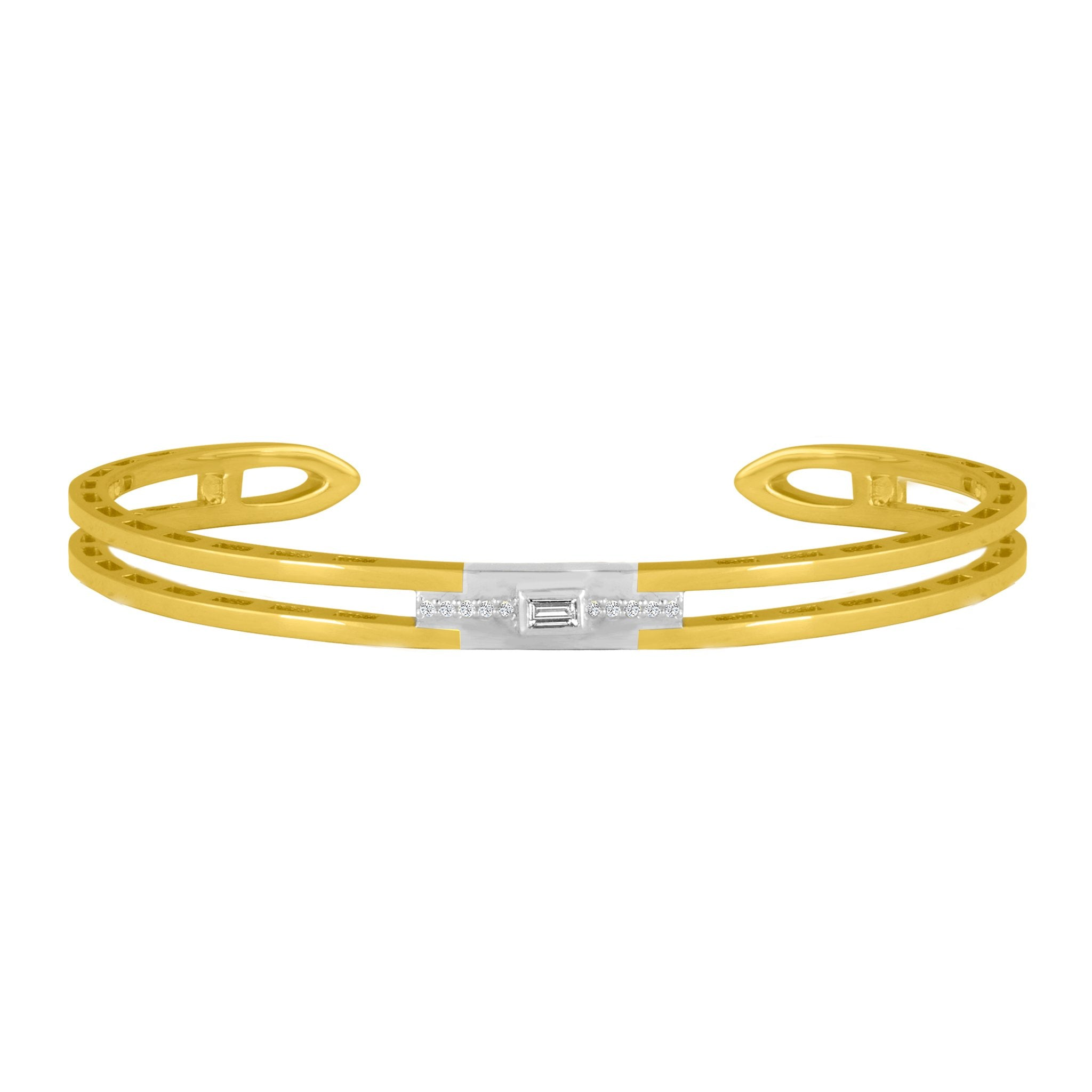 Edge Cuff Bracelet: 18k Yellow Gold, 18k White Gold, Round Diamonds & Baguette