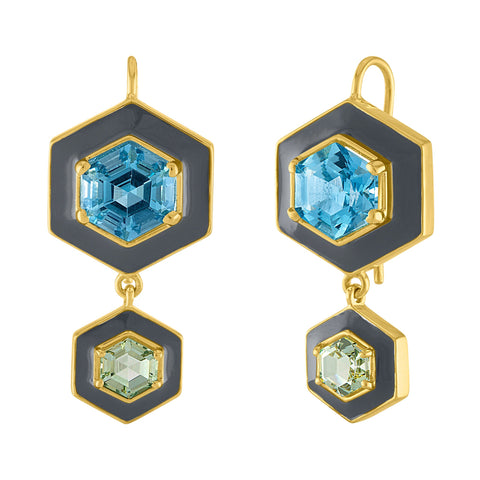 Glitter Enamel Earrings: 14/18k Gold, Blue & Green Topaz