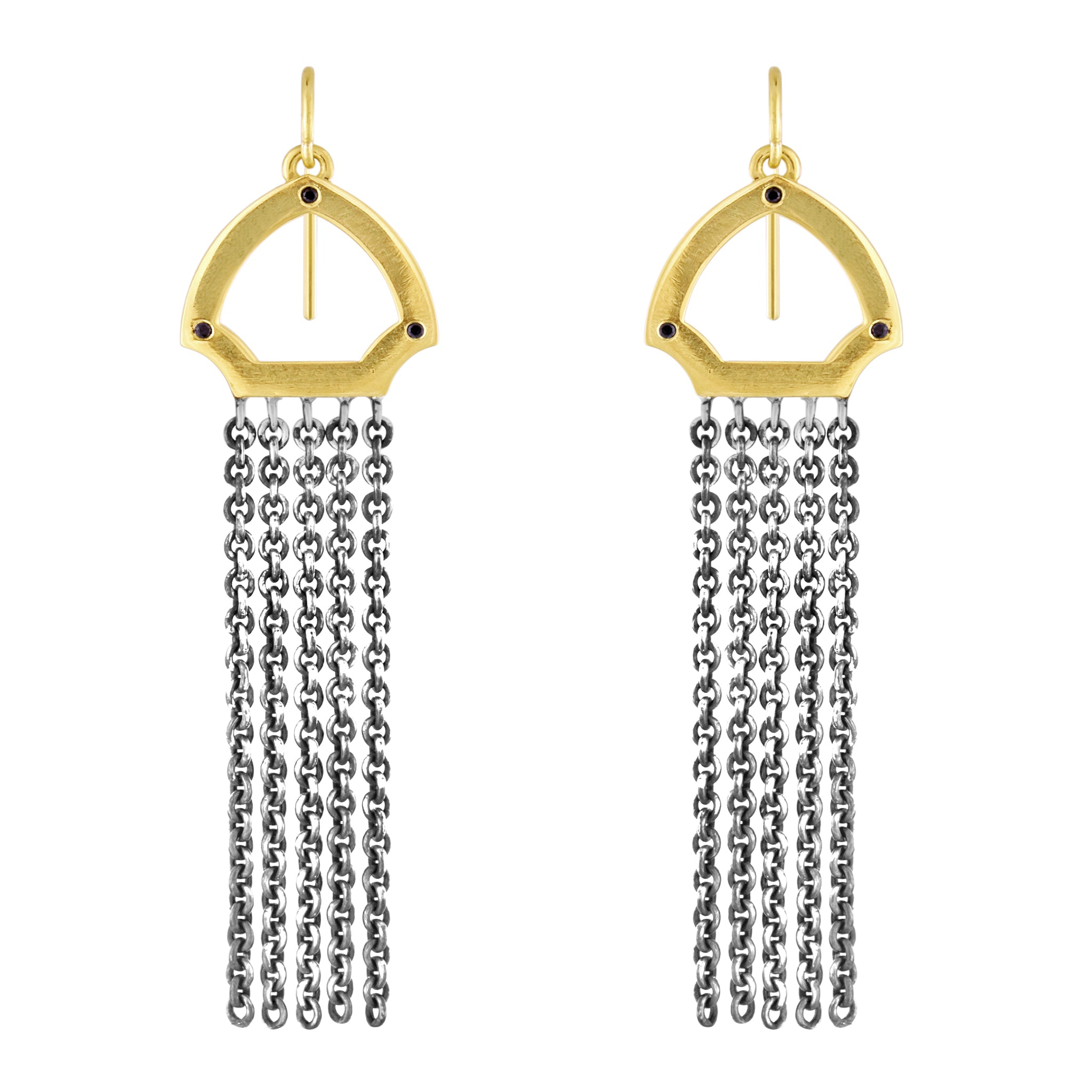 Hook Earrings: 14k Gold, Oxidized Silver, Black Diamonds
