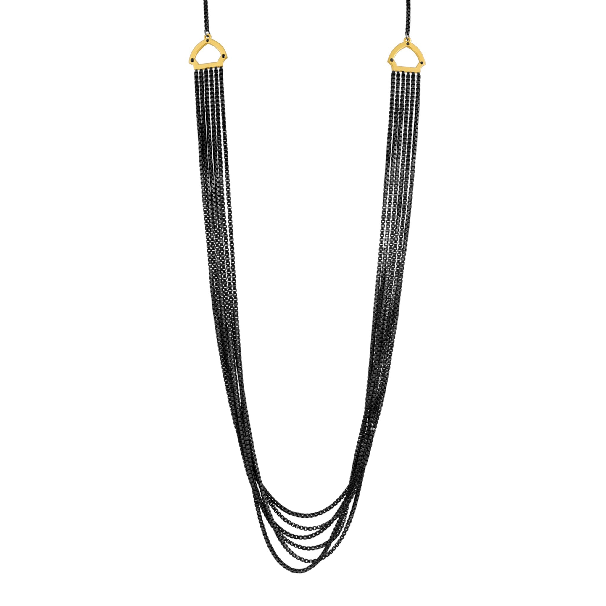 Hook Necklace: 14k Gold, Black Diamonds