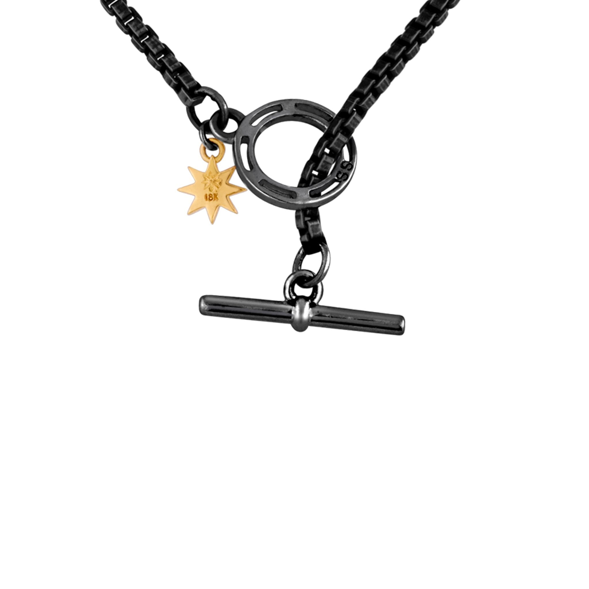 Hook Necklace: 14k Gold, Silver, Black Diamonds