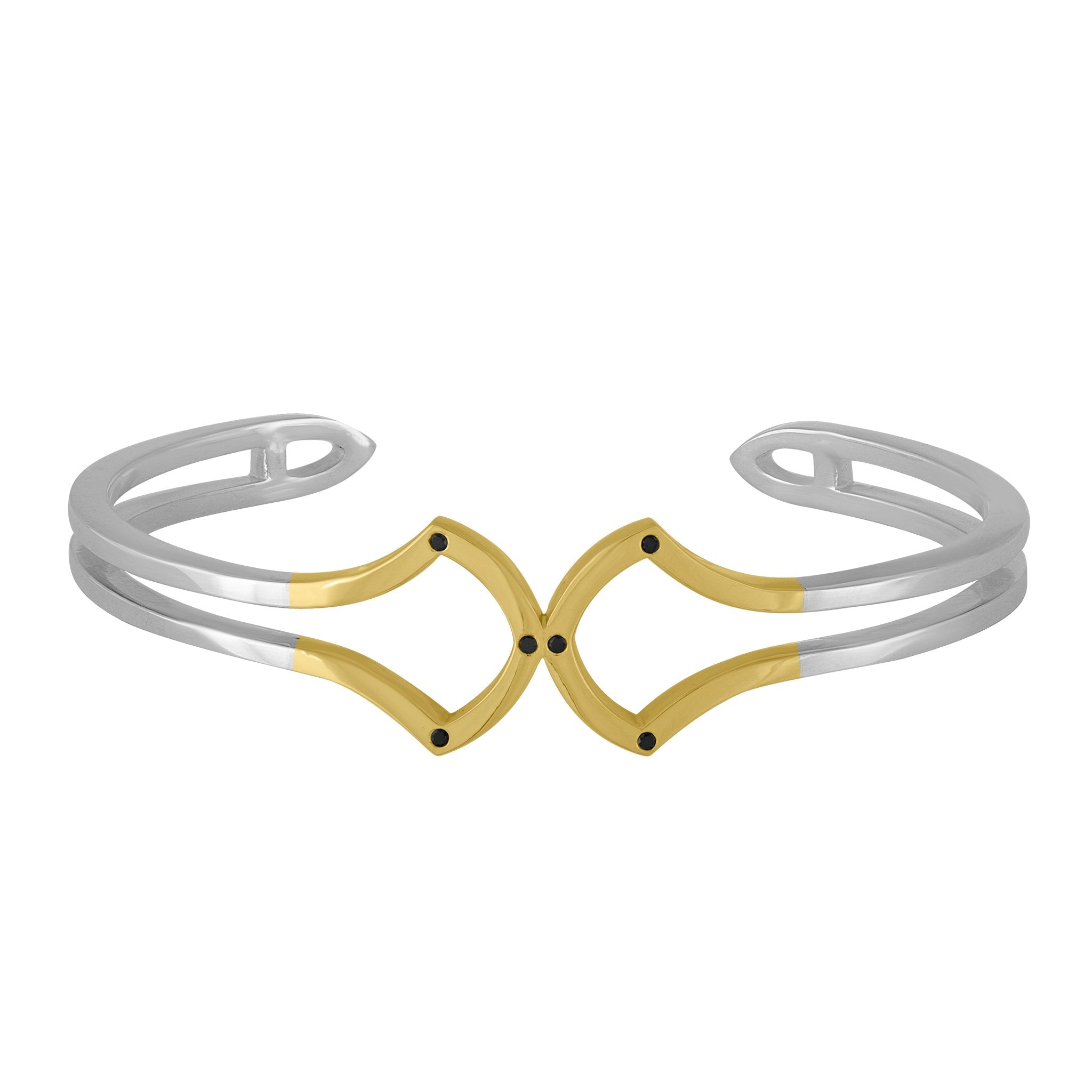 Hook Mini Cuff Bracelet: 18k Gold, Silver, Black Diamonds