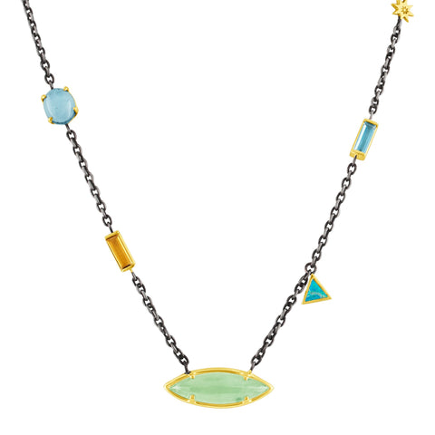 Sky Mix Stone Necklace: 14k Gold, Silver, Aqua, London Blue, Citrine, Opal