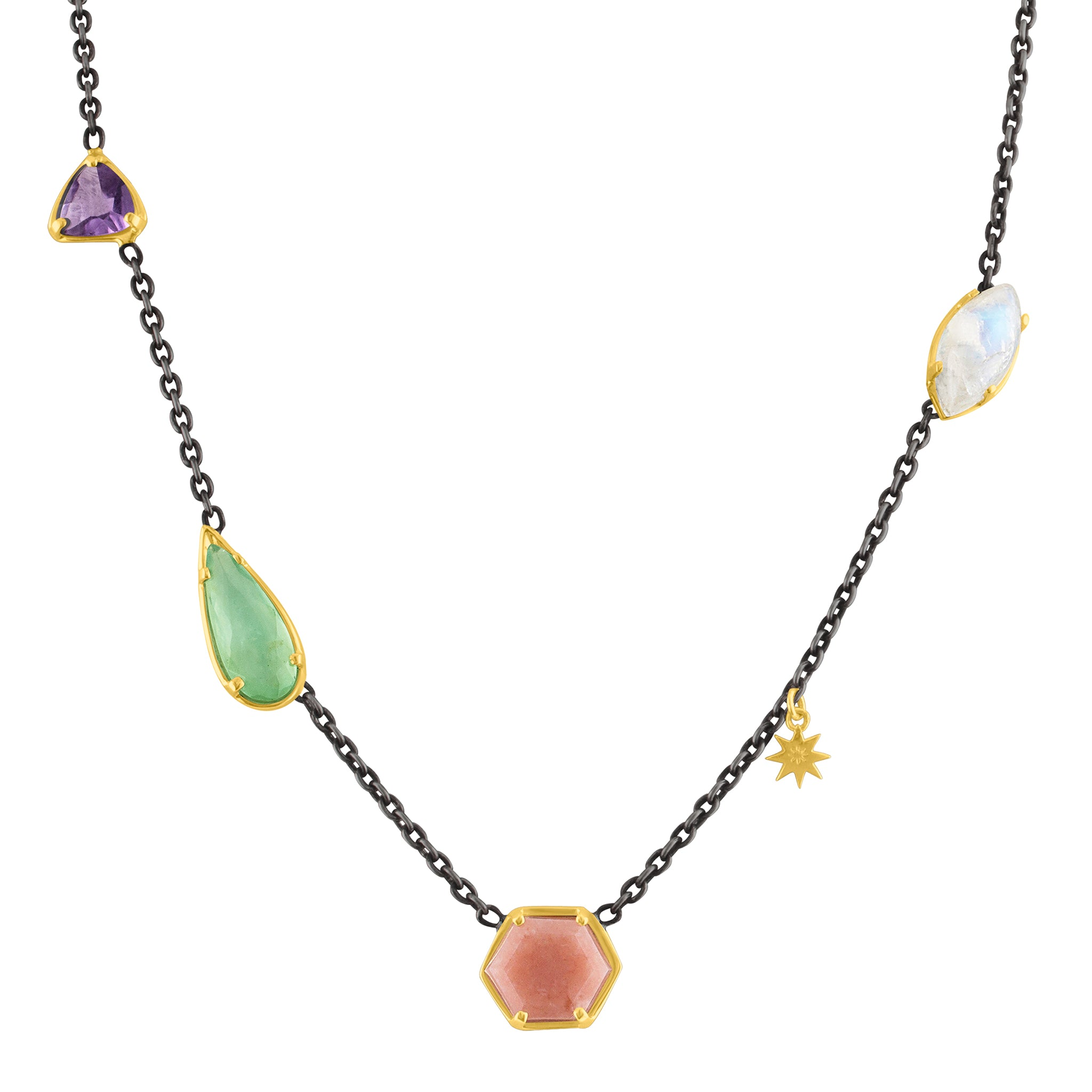 Hex Mix Stone Necklace: 14k Gold, Silver, Pink & Green Chalcedony, Amethyst, Moonstone