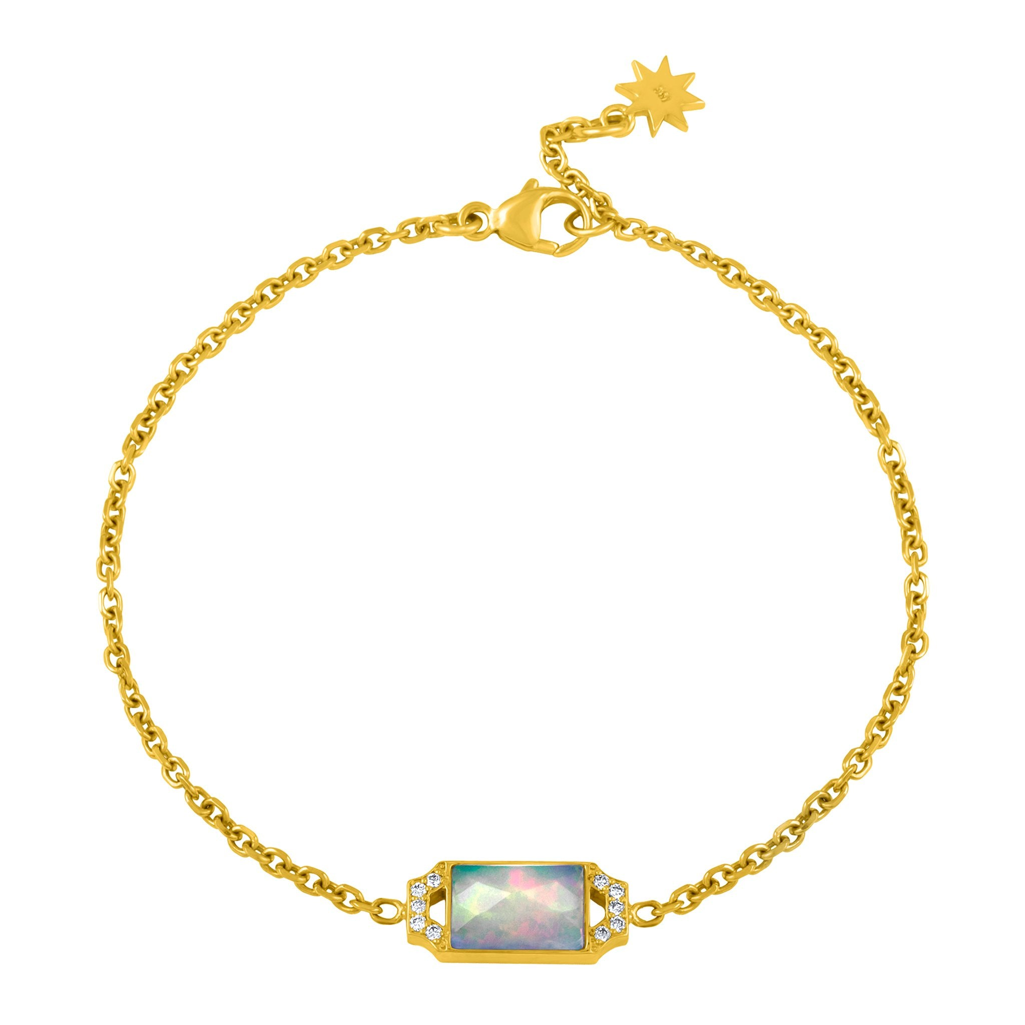 Edge Petite Bracelet: 18k Gold, Opal, Diamonds