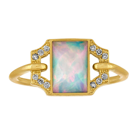 Edge Petite Ring: 18k Gold, Opal, Diamonds