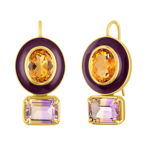 POP DUO Enamel Earrings: 14k/18k Gold, Citirine, Ametrine, Enamel