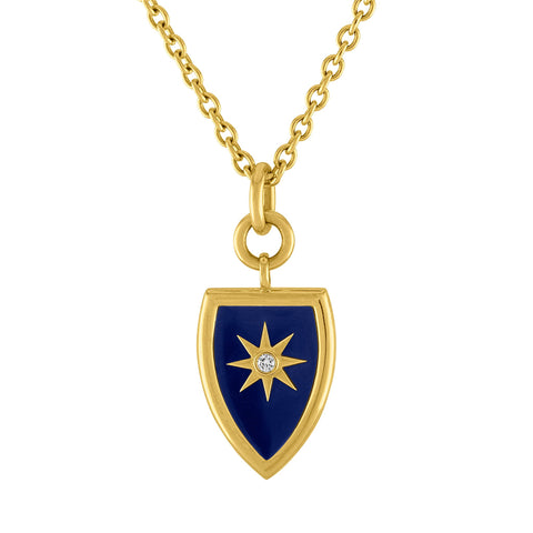 Celestial Shield Pendant: 14k Gold, Enamel, Diamonds