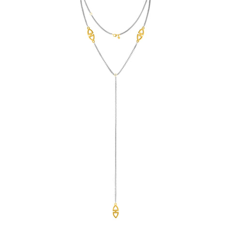 Shield Lariat Necklace: 14k Gold, Rhodium Plate Silver, Diamonds