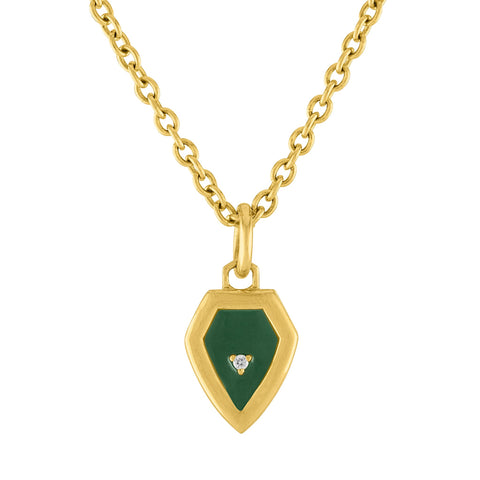 Mini Shield Enamel Pendant: 14k Gold, Enamel, Diamonds
