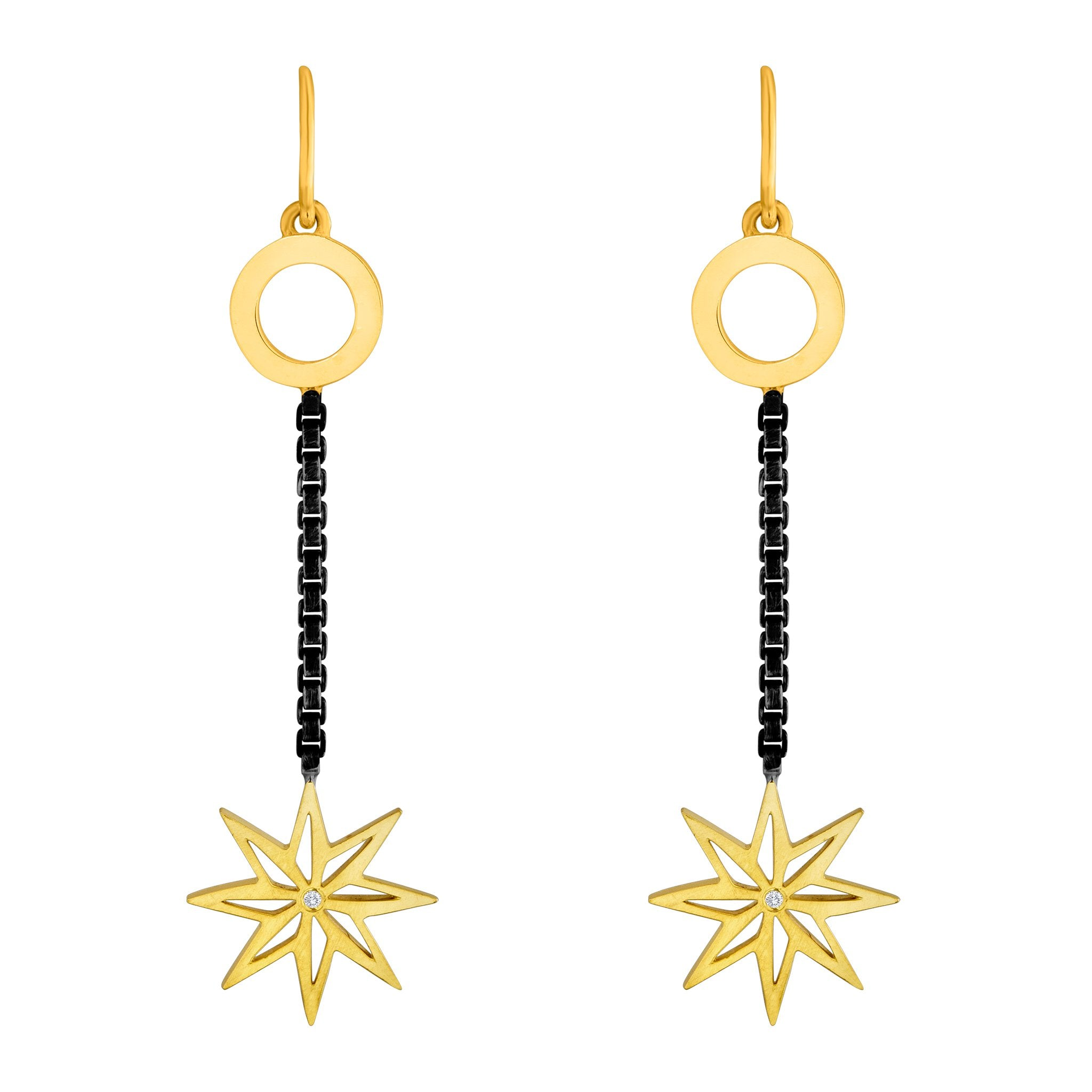 Stella Earrings: 18k Gold, Oxidized Silver, Diamonds
